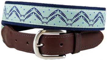 Herringbone (Washed green color) Design Leather Tab belt by Belted Cow