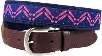 Herringbone (Navy color) Design Leather Tab belt by Belted Cow