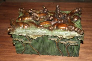 Hippo Box or Humador bronze sculpture by Christopher Smith