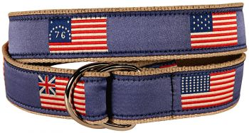 Historic American Flags D Ring Belt by Belted Cow