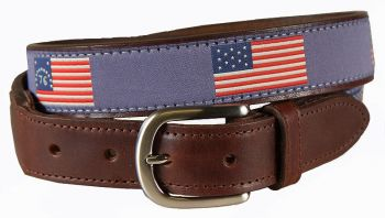Historical American Flags Leather Tab Belt by Belted Cow View 2