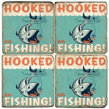 Hooked on Fishing Italian Marble Coasters