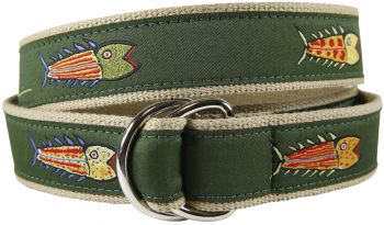Hopkins Olive Fish D Ring Belt by Belted Cow