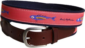 Hopkins Coral Fish Leather Tab Belt by Belted Cow