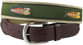 Hopkins Fish over Olive Background Leather Tab Belt by Belted Cow