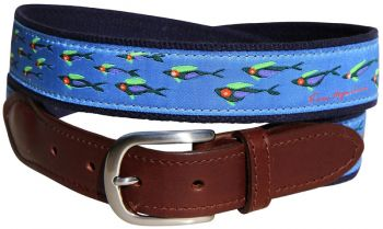 Hopkins School of Fish design Leather Tab Belt by Belted Cow