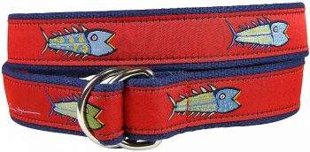 Hopkins Fish - Red - D Ring Belt by Belted Cow