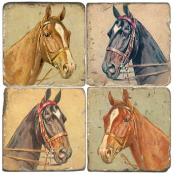 Horse Heads Italian Marble Coasters and Giftware