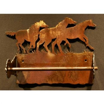 Horse rustic metal paper towel holder by Steel Appeal