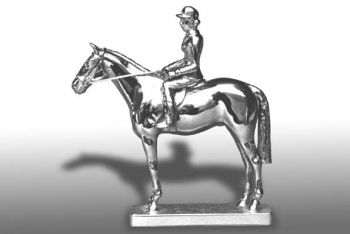 "Hunter - 4"" -  Hood Ornament or Car Mascot by Louis Lejeune comes in chrome, bronze, enamel or gold plated"