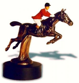 Hunter over Hurdle - Large - Hood Ornament or Car Mascot by Louis Lejeune comes in chrome, bronze, enamel or gold plated