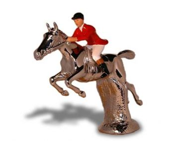 Hunter over Hurdle - Small - Hood Ornament or Car Mascot by Louis Lejeune comes in chrome, bronze, enamel or gold plated