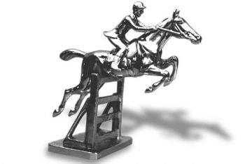 Hunter over Rails - Large - Hood Ornament or Car Mascot by Louis Lejeune comes in chrome, bronze, enamel or gold plated
