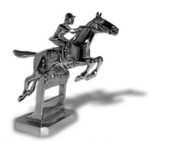 Hunter over Rails - Small - Hood Ornament or Car Mascot by Louis Lejeune comes in chrome, bronze, enamel or gold plated