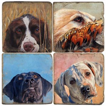 Hunting Dogs Italian Marble Coasters
