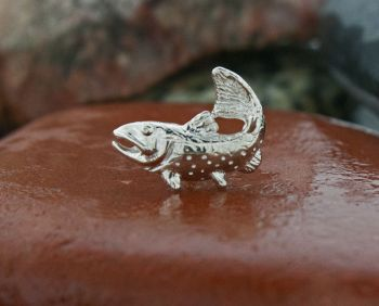 Sterling Silver Brook trout Lapel Pin Tie tack