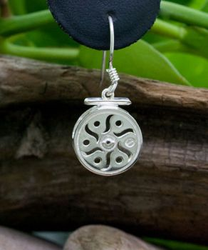 Celestial Fly Reel Sterling Silver Dangle Earrings by Tight Lines Jewelry