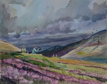 In the Spotlight is a watercolor painting of a hunting scene in Scotland by CD Clarke