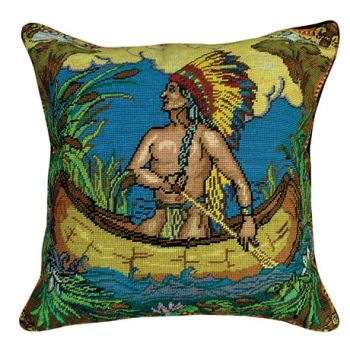 Indian in Canoe Needlepoint Pillow by Michaelian Home