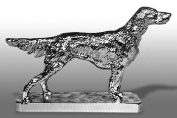 Irish Setter Hood Ornament or Car Mascot by Louis Lejeune comes in chrome, bronze, enamel or gold plated