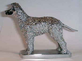 Irish Water Spaniel Hood Ornament or Car Mascot by Louis Lejeune comes in chrome, bronze, enamel or gold plated