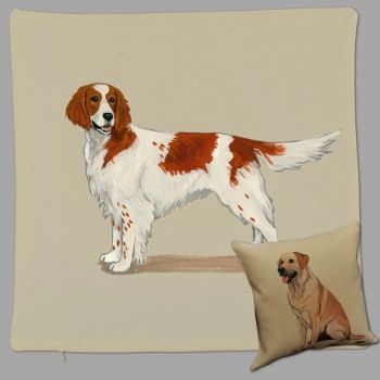 Irish Red and White Setter Throw Pillow by Zeppa Studios