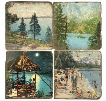 Mountain Lakes Italian Marble Coaster by Studio Vertu