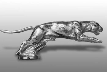 Jaguar Leaping Hood Ornament or Car Mascot by Louis Lejeune comes in chrome, bronze, enamel or gold plated