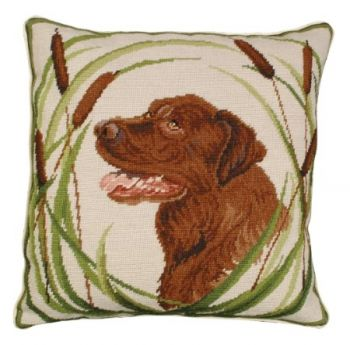 Jake is a Chocolate Lab needlepoint pillow by Michaelian Home