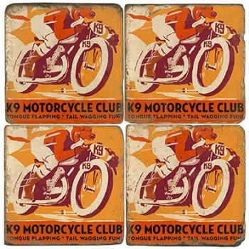 K9 Motorcycle Club set of 4 wine coasters by Studio Vertu