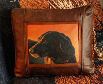 Kathy's Black Lab Leather Pillow