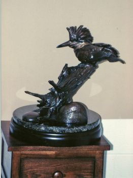Everyday is Friday is a bronze sculpture of a Kingfisher by Ronnie Wells