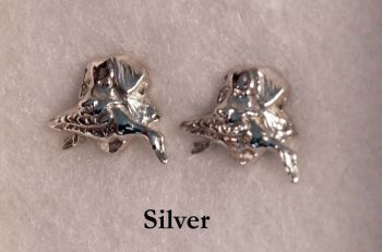 Retriever with Duck Sterling Silver Earrings by Dick Cook