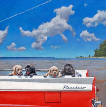 Black and yellow lab puppies playing in the back of a Ford Ranchero - giclee print by Chris Chantland