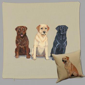 Labrador trio Print Pillow by Zeppa Studios