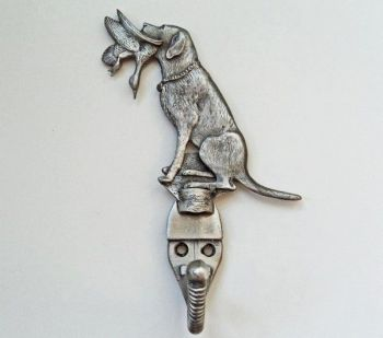 Lab with Duck pewter coat hook by Sid Bell Originals