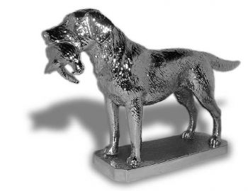 Labrador Retriever with Pheasant - Large - Hood Ornament or Car Mascot by Louis Lejeune comes in chrome, bronze, enamel or gold plated