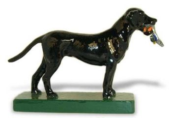 Labrador Retriever with Duck Hood Ornament or Car Mascot by Louis Lejeune comes in chrome, bronze, enamel or gold plated