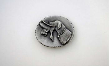 Labrador retriever with Duck Pewter Buckle by Sid Bell