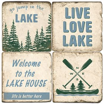 Lake House Signs Italian Marble Coasters and Giftware