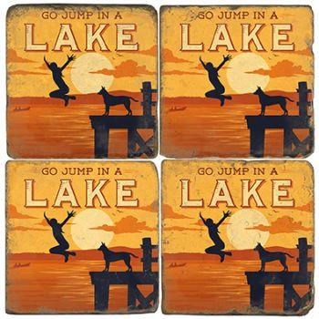 Lake Jumping Italian Marble Coasters and Giftware