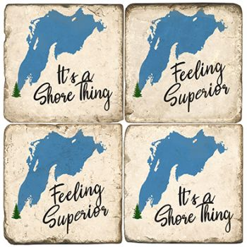 Lake Superior It's a Shore Thing Italian Marble Coasters and Giftware