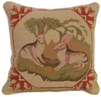 Lancaster Hare Petit Point Pillow - Michaelian Home