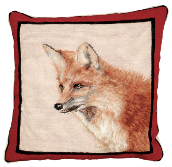 Large Fox Needlepoint Pillow by Michaelian Home