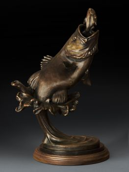 Laregmouth Bass Bronze Sculpture by Dan Genord