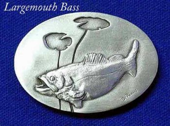 Largemouth Bass sculptured pewter buckle by the Art of Lou DePaolis