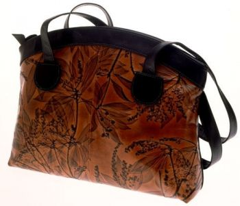 Leaf Leather Curve Top Bag by CL Whiting