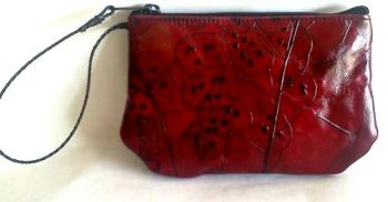 Leaf Leather Large Evening Pouch