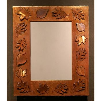 Leaf Silhouette rustic metal mirror by Steel Appeal
