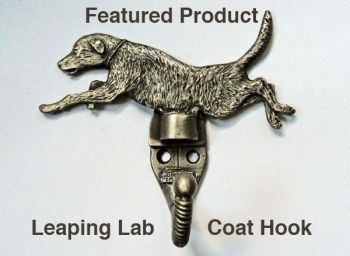 Lab Leaping pewter coat hook by Sid Bell Originals